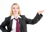 a business woman in a suit gesturing (2) poster