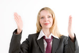 a business woman gesturing with both hands poster