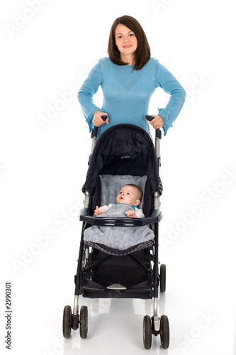 mother, baby and pram