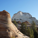 Two rock formations in Zion National Park, Utah. poster