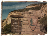 Polaroid transfer of Zion National Park sign. poster