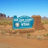 Welcome sign in San Juan County, Utah. poster