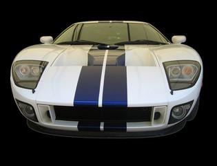 white supercar with blue stripe