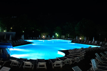 night swimming pool