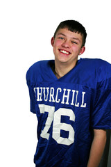a smiling young linebacker