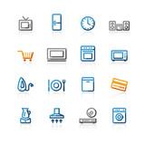 contour household e-shop icons poster