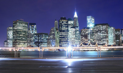 manhattan skyline at night lights, nyc
