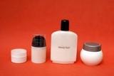 bottles of creams. beauty fluid. hygiene. make-up poster