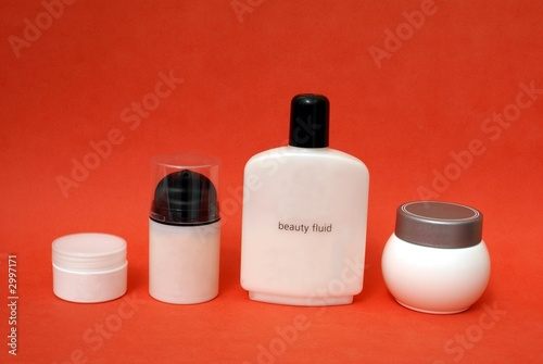 bottles of creams. beauty fluid. hygiene. make-up poster