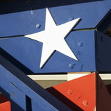 Close-up of building with patriotic paint in Miami, Florida, USA poster