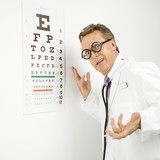 doctor wearing eyeglasses making gesture. poster