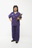 woman dressed in scrubs with clipboard. poster