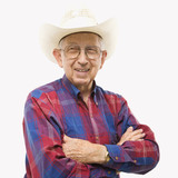 portrait of elderly man in cowboy hat. poster