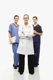 caucasian women healthcare workers. poster