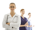 caucasian women medical healthcare workers. poster