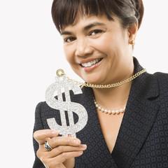 businesswoman wearing dollar sign.