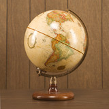 sill life shot of a vintage world globe sitting on a desk. poster