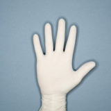 hand wearing rubber glove. poster
