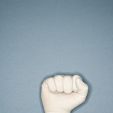 fist wearing rubber glove. poster