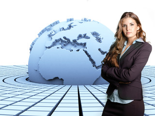 3d earth and businesswoman