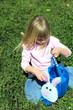 child hunting easter eggs