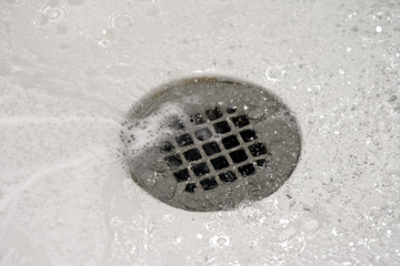 shower drain with water