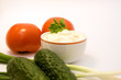 mayonnaise and fresh vegetables closeup