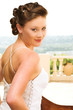 sexy young brunette bride wearing white wedding go