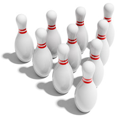 ten bowling pins in triangle
