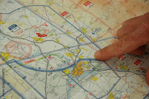 Leinwanddruck Bild carte et plan de vol