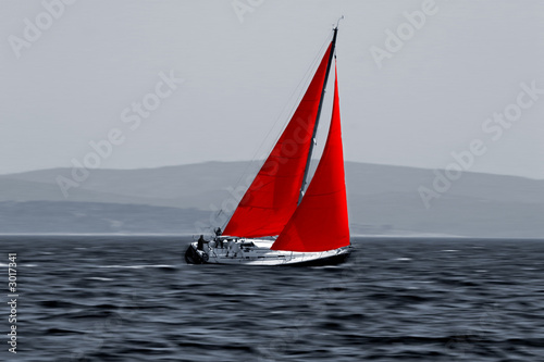 canvas print picture sailboat moving fast