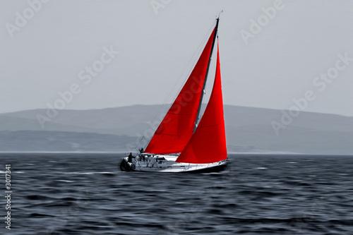 sailboat moving fast - 3017341