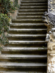 staircase lion