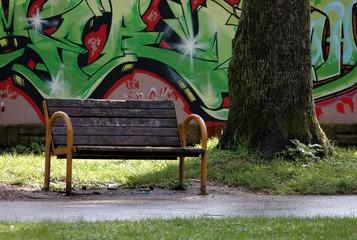 urban graffiti in the park