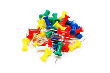 pile of color pins isolated on white