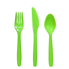 vibrant green  plastic  fork, knife and spoon