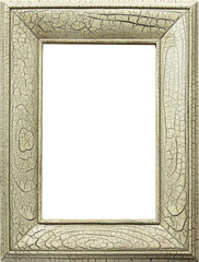 a picture frame with crackled, distressed finish
