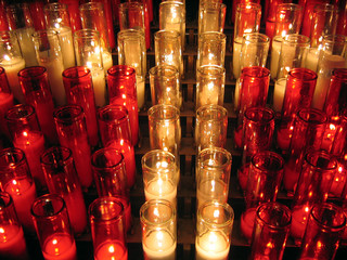 red and white votive candles
