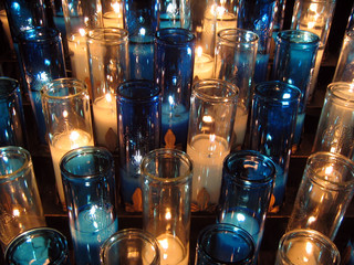 white and blue votive candles