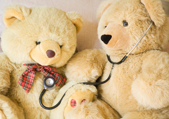 teddy bear and stethoscope