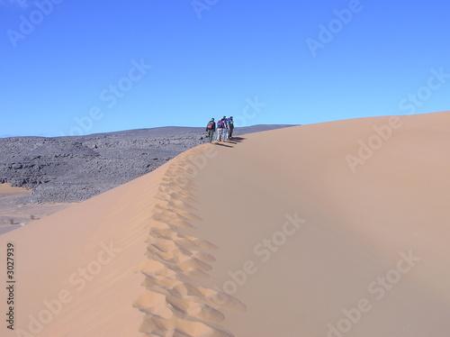In de dag Algerije randonneurs dans le désert