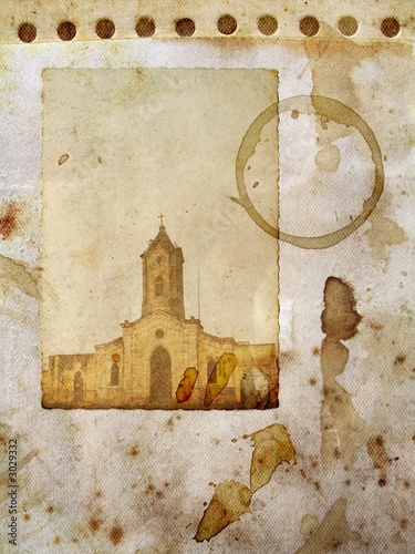 grunge paper with church card