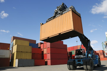 forklift with container in action