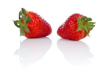 two fresh and tasty strawberries