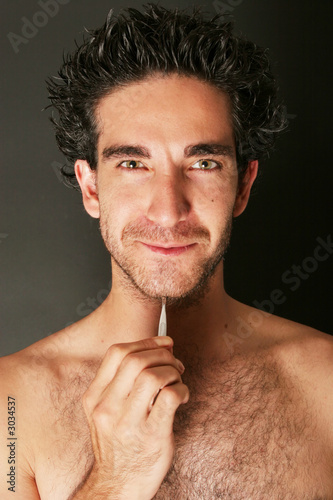 man with tweezers