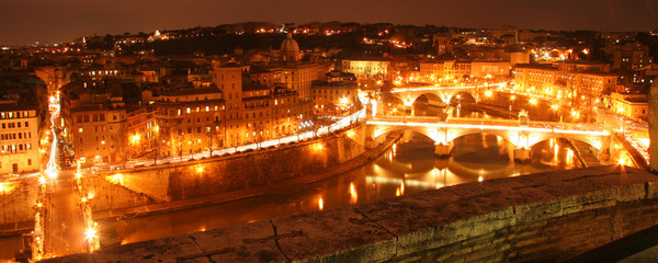 Rome river front at night