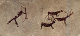 prehistoric hunter - cave painting reproduction poster