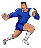 rugby fending blue cartoon style poster