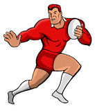 rugby fending red cartoon style poster