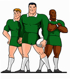 rugby 3 players standing green cartoon style poster